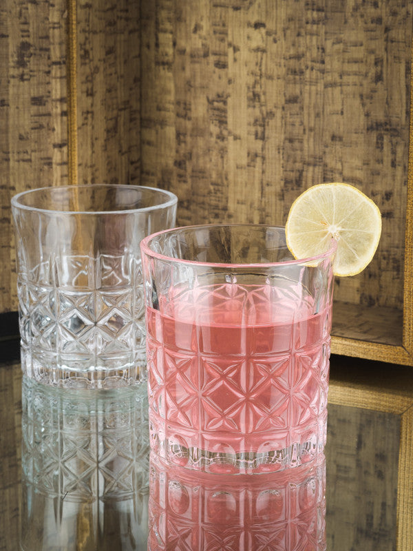 GOODHOMES Glass Layla Tumbler set with Diamond Emboss Design (Set of 6 Pcs) 3306-6