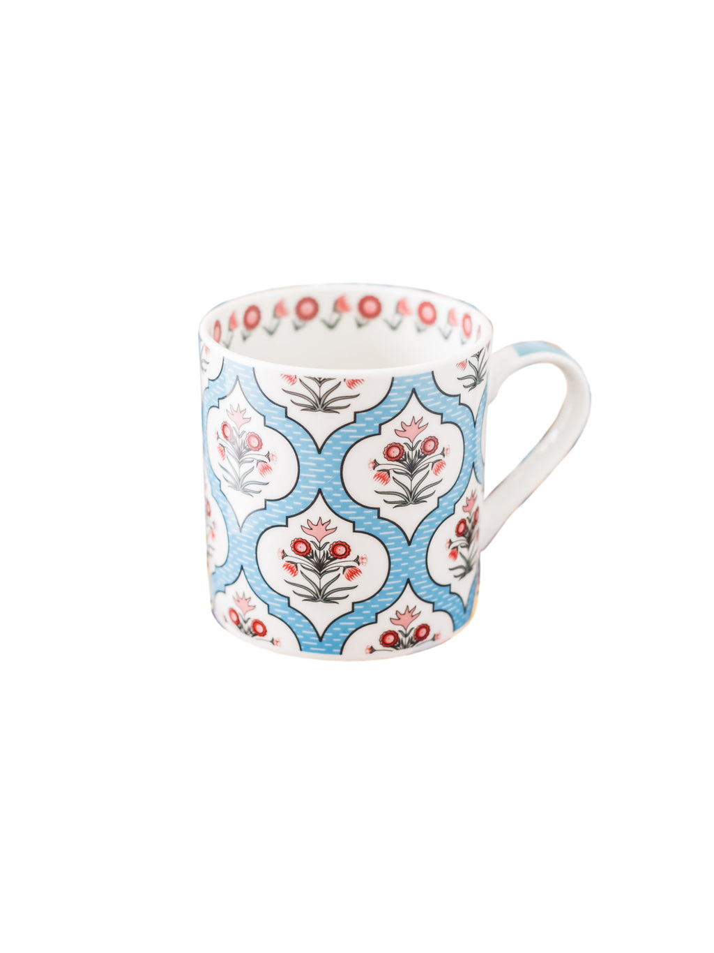 Bone China Tea Cups/Coffee Mugs with Multi Color Design (Set of 6 Mugs). (Made in India) ZOECM1126