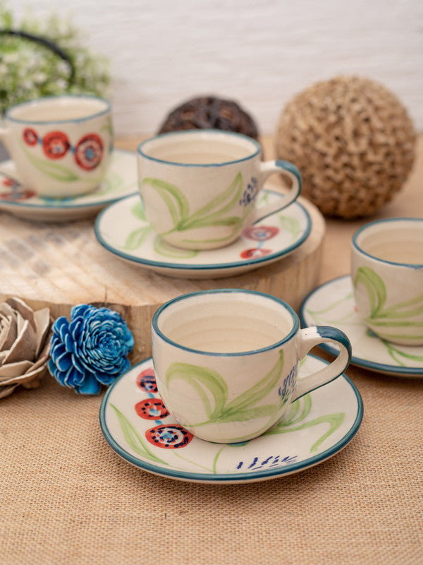 GOODHOMES Designer Stoneware Cup Saucer Set (Set of 8 pcs)-DDSWCS-12