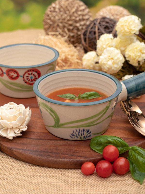 GOODHOMES Designer Stoneware Soup Bowl with Handle (Set of 2 pcs)-DDSWFP-12