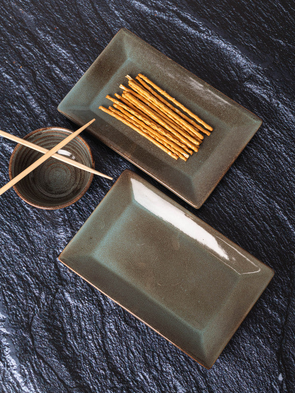 GOODHOMES Stoneware Ractangle Platter (Set of 2pcs) DDSWRP-2