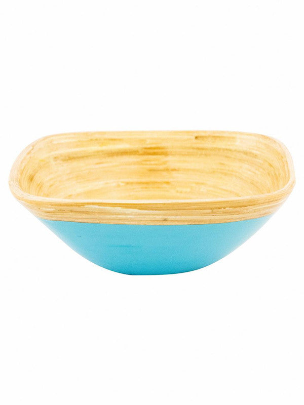 Goodhomes Square Bamboo Wood Bowl in Sky Blue Colour DT10677-M-Blue