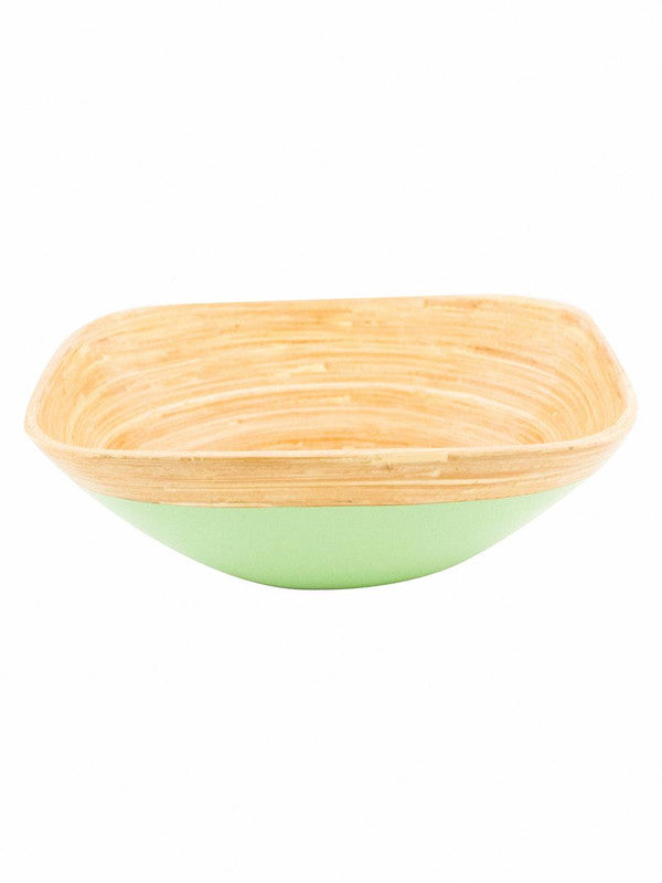 Goodhomes Square Bamboo Wood Bowl in Lime Green Colour DT10677-M-Green