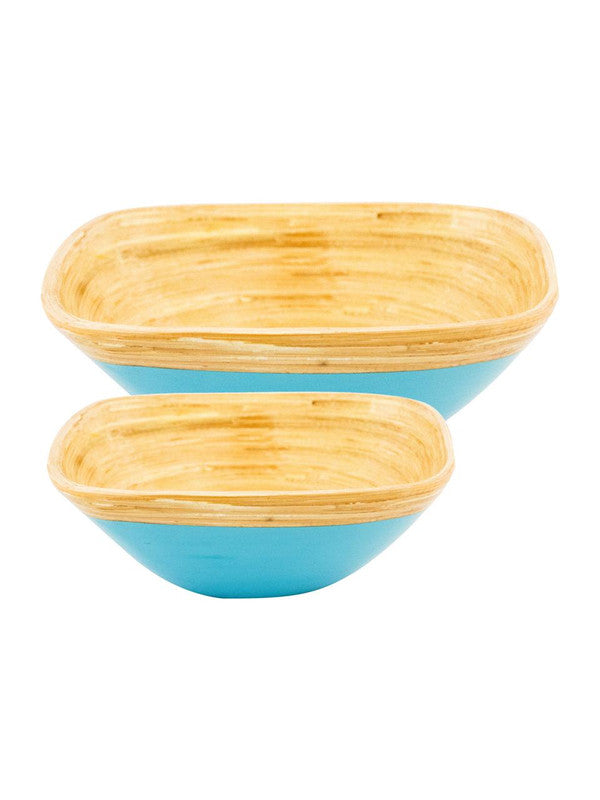 Goodhomes Square Bamboo Wood Bowls in Sky Blue Colour ( Set of 2) DT10677-MS-Blue