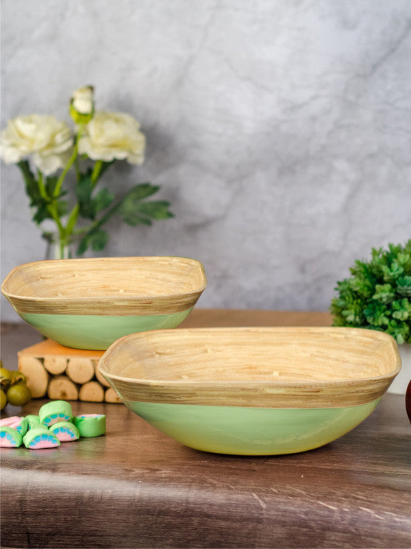 Goodhomes Square Bamboo Wood Bowls in Lime Green Colour ( Set of 2) DT10677-MS-Green