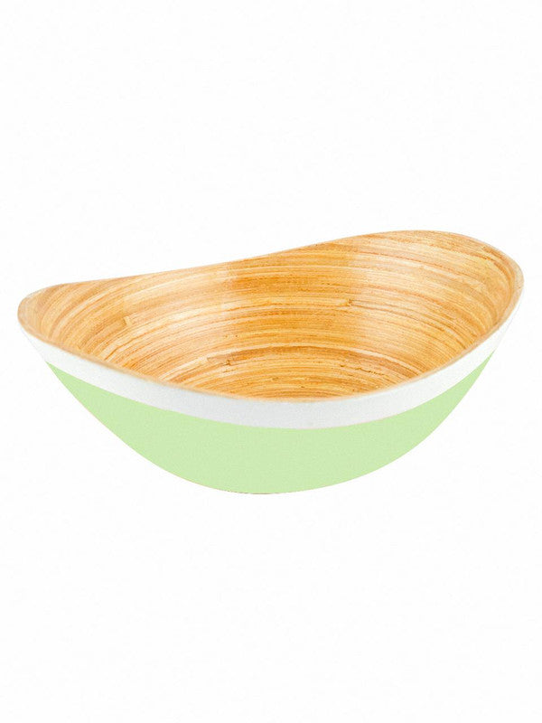 Goodhomes Oval Bamboo Wood Bowls in Lime Green Colour ( Set of 2) DT21799-MS-Green