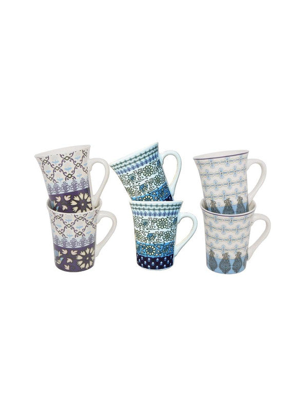 Fine Porcelain Mug with Multi Color Design ( Set of 6 Cup ) GDH-DPCM-102