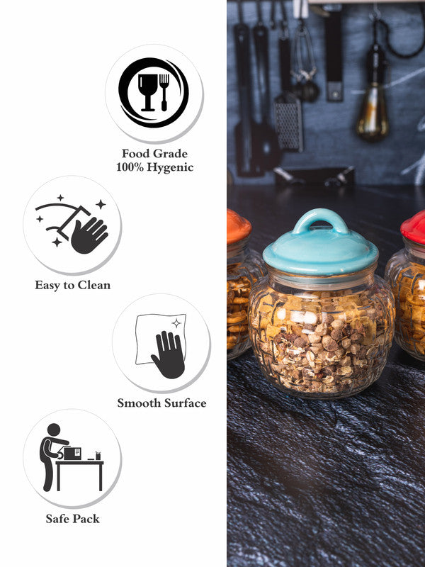 GOODHOMES Glass Jar with Ceramic Color Lid (Set of 3pcs) GHJ-1014-STRIPS