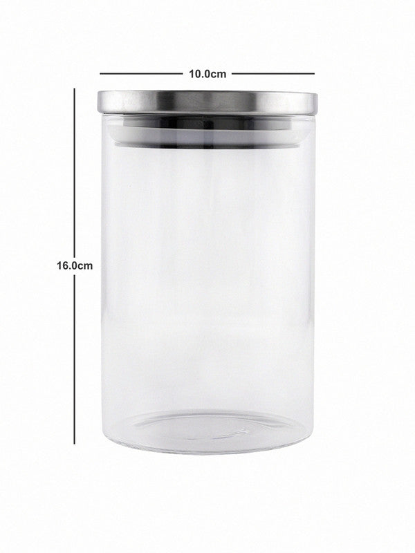GOODHOMES Borosilicate Glass Airtight Jar with Metal Lid (Set of 2pcs) GPG10-1050-SS-2