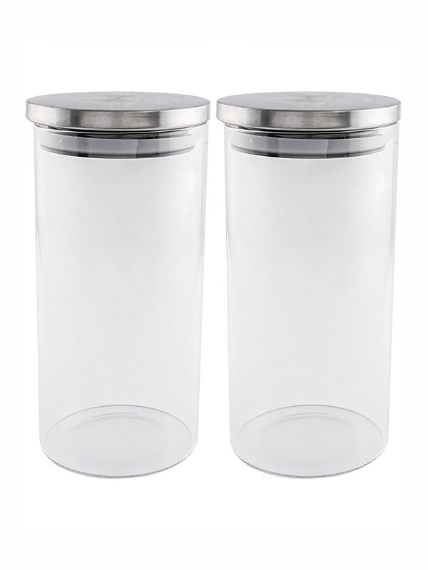 GOODHOMES Borosilicate Glass Airtight Jar with Metal Lid (Set of 2pcs) GPG10-1400-SS-2