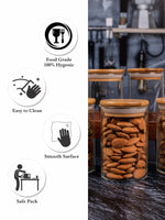 GOODHOMES Glass Storage Jar with Wooden Lid (Set of 6pcs)  GPG10-270-2
