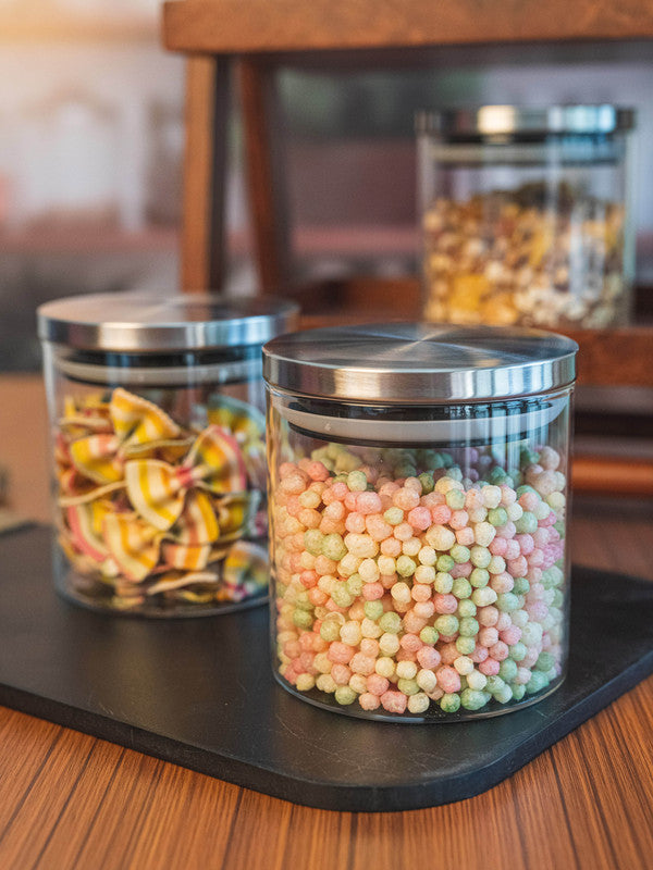 GOODHOMES Borosilicate Glass Airtight Jar with Metal Lid (Set of 3pcs) GPG10-685-SS-3