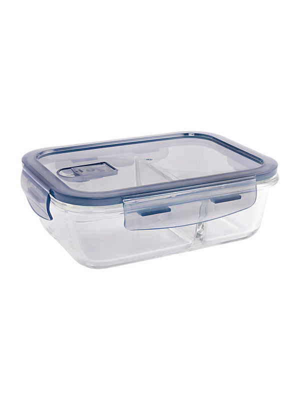GOODHOMES Glass storage box with partition and Air tight Lid GPK14-2