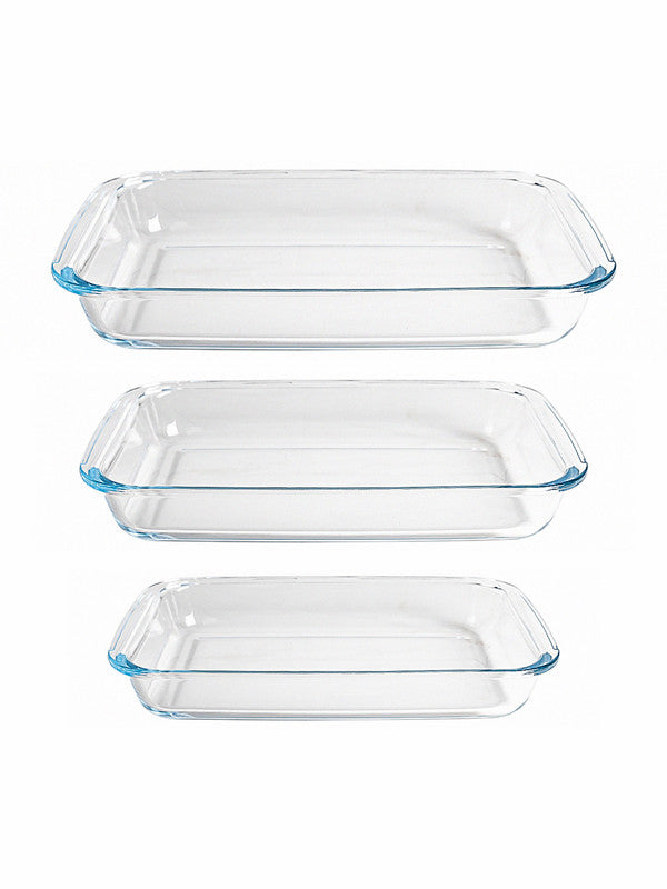 GOODHOMES Glass Rectangle Baking Tray (Set of 3pcs) H2150-3P