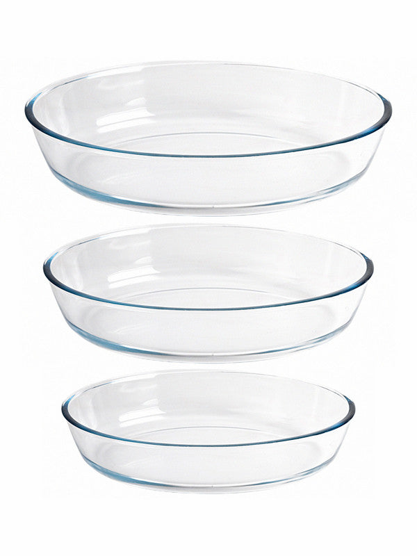 GOODHOMES Glass Oval Baking Tray (Set of 3pcs) H2151-3P