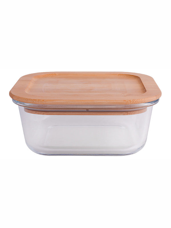 Square Glass storage box with Air tight Wooden Lid (Set of 3pcs) H2153AB