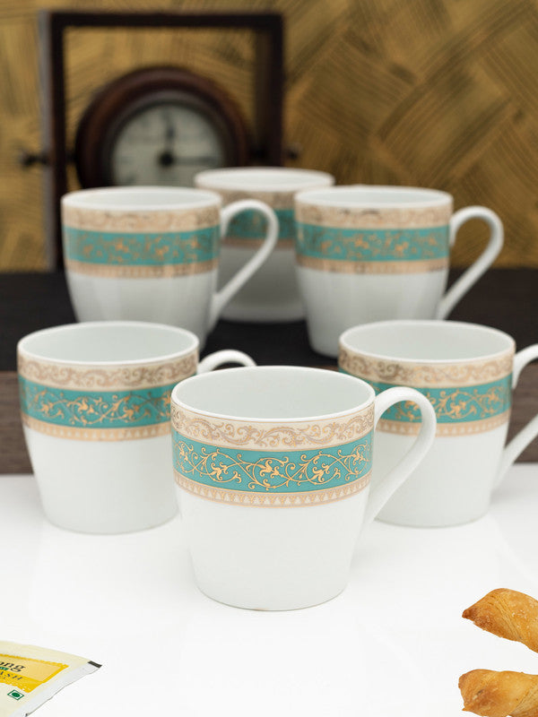 GOODHOMES Fine Bone China Tea Cups/Coffee Mugs with Real Gold Design (Set of 6 mugs) NEW-STENO-M-D115-G-CHAIN