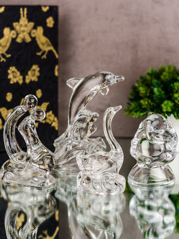 Glass Showpiece Set of Ganesha, Dolphin, Swan and Embrace Couple Figurines (Set of 4 pcs) RFS-1789/97/98/09