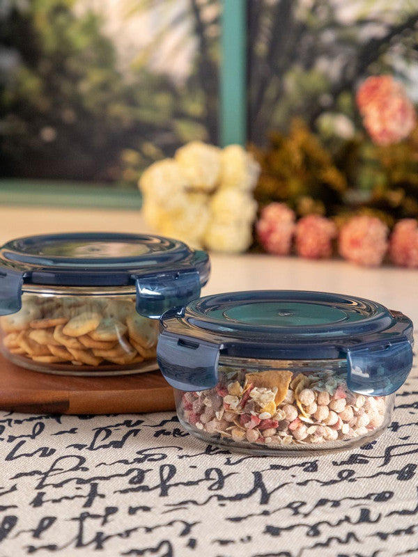 GOODHOMES Glass Storage Box in Round Shape (Set of 2 pcs) RX-3254-BLUE