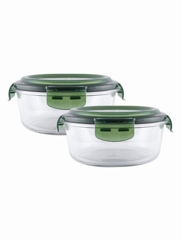 Glass Storage Box in Round Shape (Set of 2 pcs) RX-3254-GREEN
