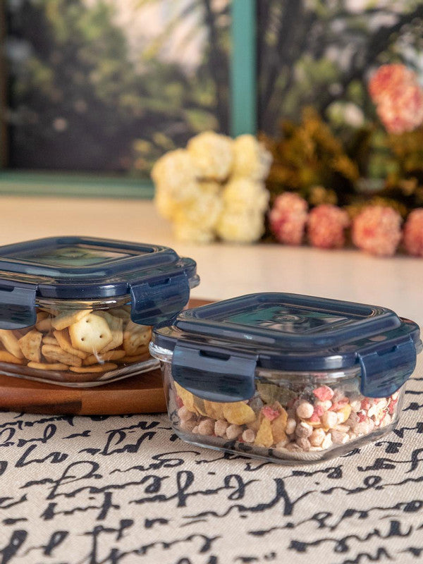 GOODHOMES Glass Storage Box in Square Shape (Set of 2 pcs) RX-3257-BLUE
