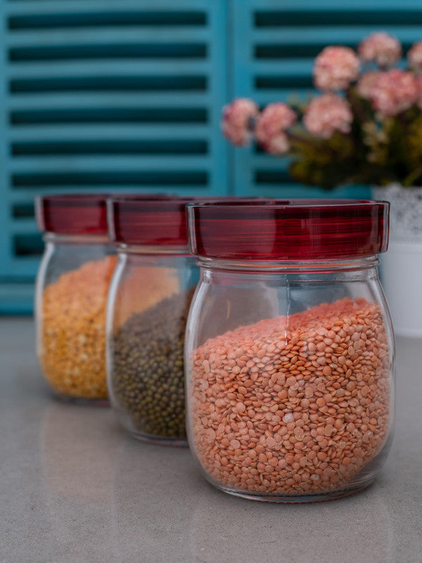 GOODHOMES Glass Jar Set with Red Lid (Set of 3 pcs) RX-3418-3