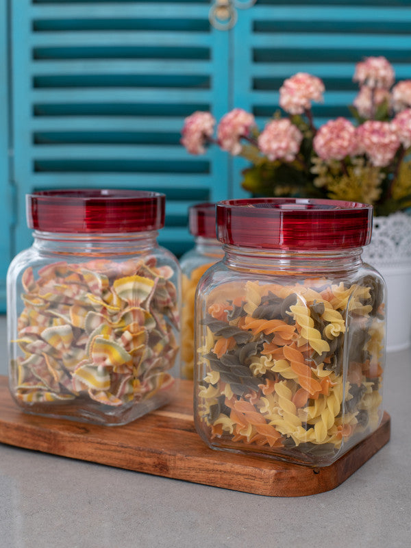 GOODHOMES Glass Jar Set with Red Lid (Set of 3 pcs) RX-3422-3