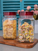 GOODHOMES Glass Jar Set with Red Lid (Set of 2 pcs) RX-3423-2