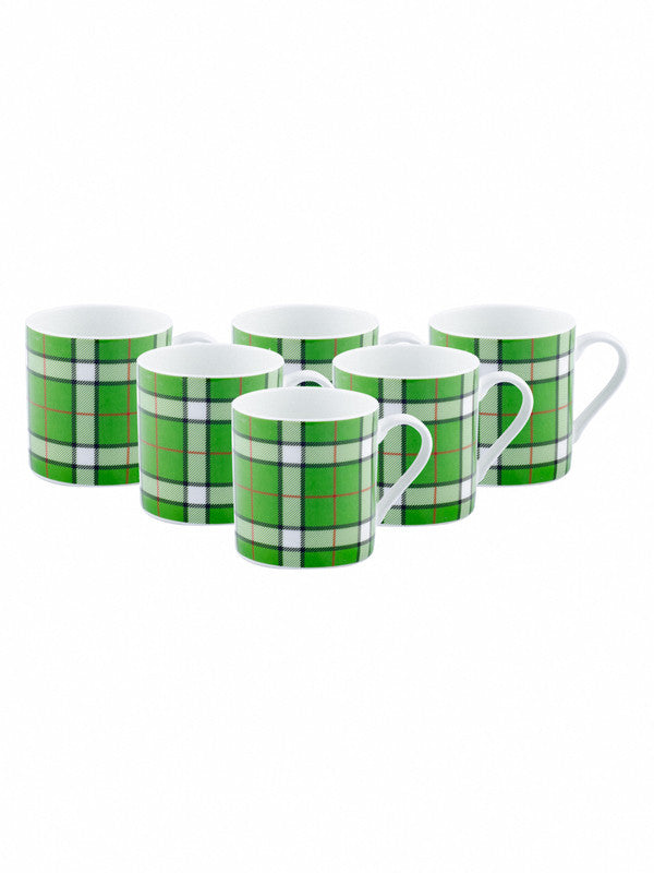 Bone China Tea Cups/Coffee Mugs with Chequered Design (Set of 6 mugs) SAMIRA-M-B018-CARPET