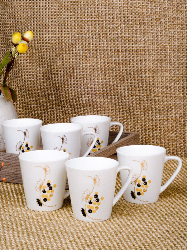 Bone China Tea Cups/Coffee Mugs with Real Gold Design (Set of 6 mugs) SF-M-D090-GC