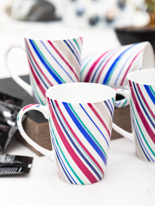 SONAKI Fine Bone China Tea Cups/Coffee Mugs (Set of 4 Pcs) SIFRA-B130-CARPET
