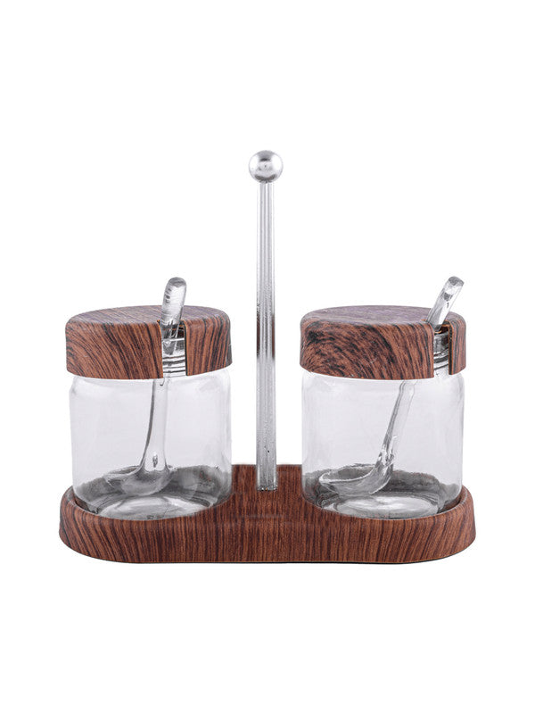 Wooden finish condiment set with Stand & Spoon SS-10198