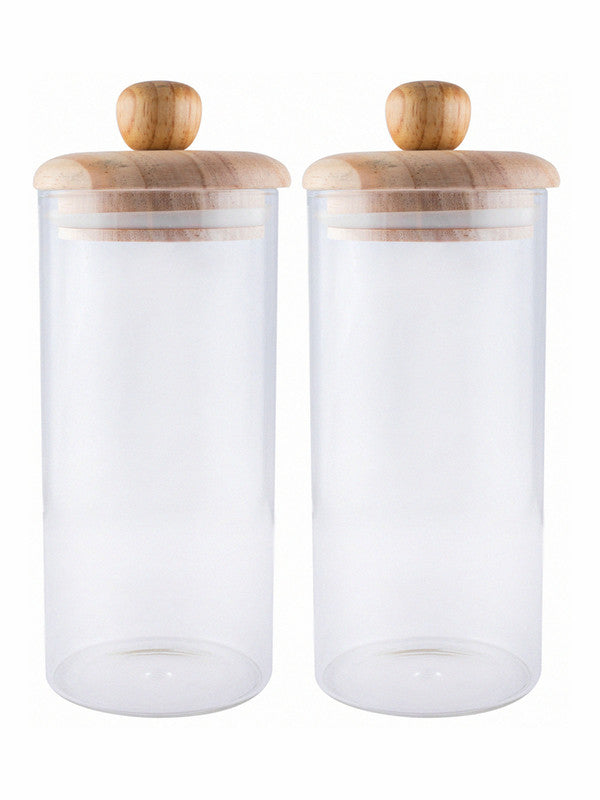 WHITE GOLD Glass Storage Jar with Wooden Lid (Set of 2pcs) WG-11010-2