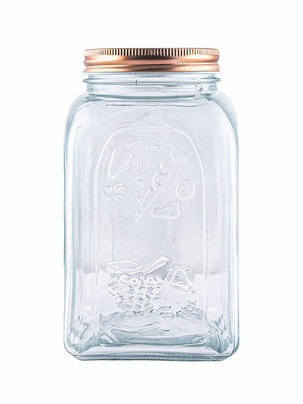 WHITE GOLD Glass Storage Jar with Copper Lid (Set of 3pcs) WG-11031-3