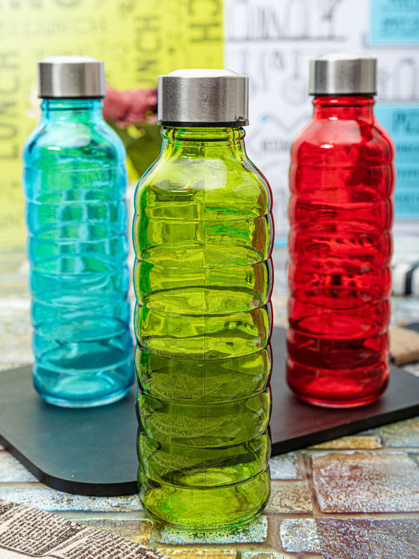 WHITE GOLD  Glass Bottle in Multi Colors (Set of 3pcs) WG-11095-3