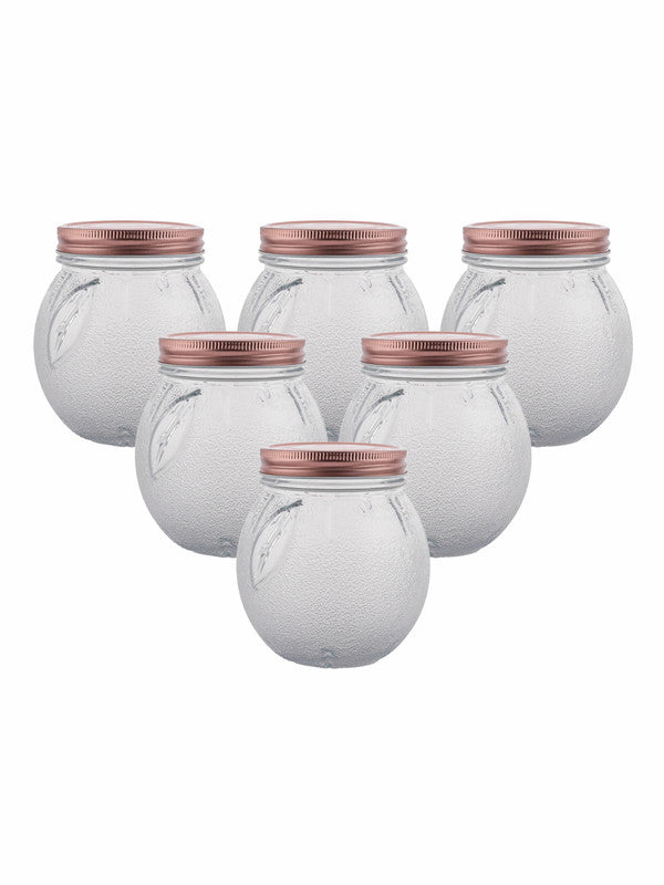 WHITEGOLD Glass Jar Set with Rose Gold Colour Lid (Set of 6pcs) WG-11108-3-RG-2