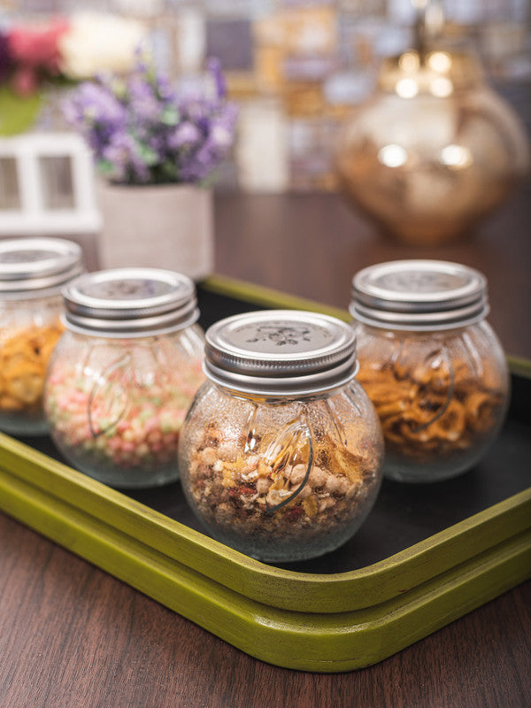 WHITEGOLD Glass Jar Set with Silver Colour Lid (Set of 4pcs) WG-11109-2-S-2