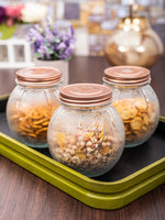 Glass Jar Set with Rose Gold Colour Lid (Set of 3pcs) WG-11111-RG-3
