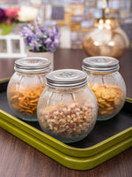 Glass Jar Set with Silver Colour Lid (Set of 3pcs) WG-11111-S-3