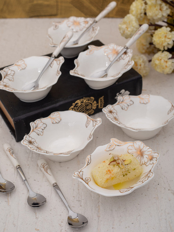 WHITEGOLD Porcelain Dessert Bowls n Spoons with Real Gold Design (Set of 12 pcs) WG-2112