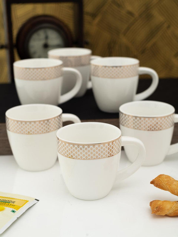 Porcelain Tea Cups/Coffee Mugs with Real Gold Design (Set of 6 mugs) WG-2306-7069G