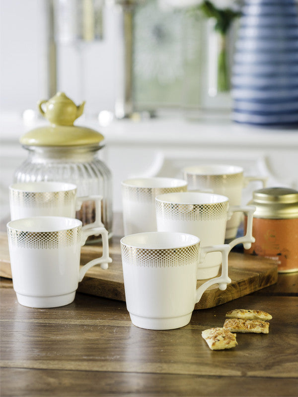 WHITE GOLD Porcelain Tea Cups/Coffee Mugs with Real Gold Design (Set of 6 mugs) WG-2806-162G