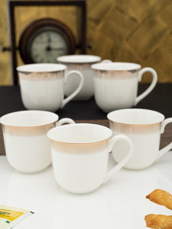WHITEGOLD Porcelain Tea Cups/Coffee Mugs with Real Gold Design (Set of 6 mugs) WG-2906-162G