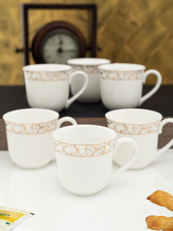 WHITEGOLD Porcelain Tea Cups/Coffee Mugs with Real Gold Design (Set of 6 mugs) WG-2906-195G