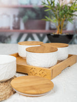 WHITE GOLD Porcelain Bowl with Wooden Lid & Tray (Set of 5pcs) WG-362