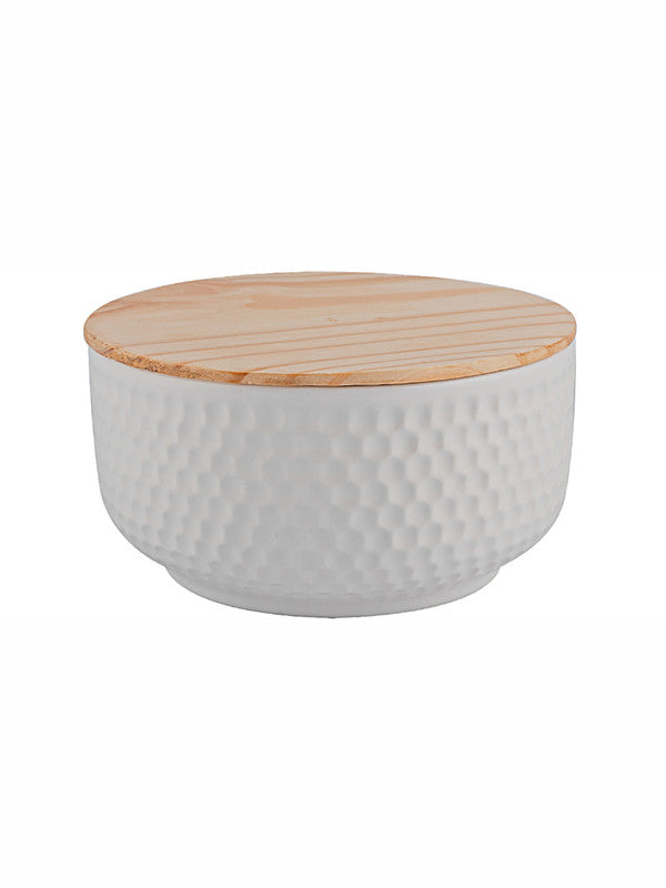 Porcelain Round Bowl with Wooden Lid (Set of 2pcs) WG-367-2
