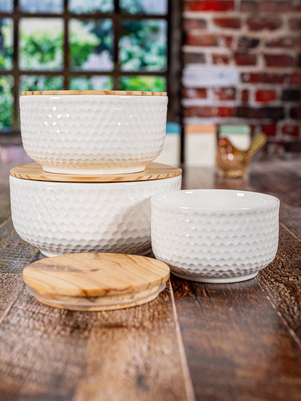 Porcelain Round Bowl with Wooden Lid (Set of 3pcs) WG-373