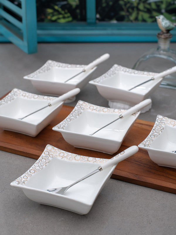 WHITE GOLD Porcelain Dessert Bowl Set with Spoons in Real Gold Design (Set of 12 pcs) WG-4612-7063