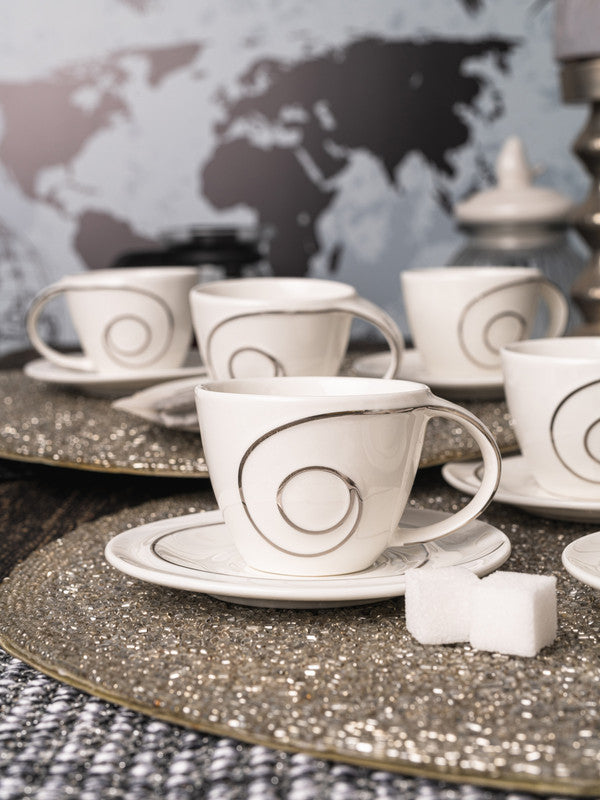 Porcelain Cup Saucer with Silver Print (Set of 12pcs) WG-4615S