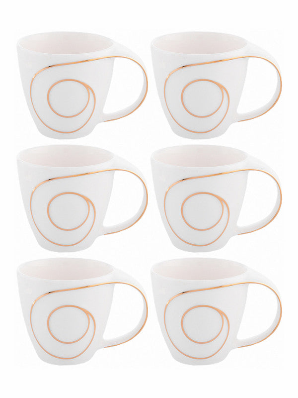 WHITE GOLD Porcelain Tea & Coffee Mug with Gold Print (Set of 6pcs) WG-4616G